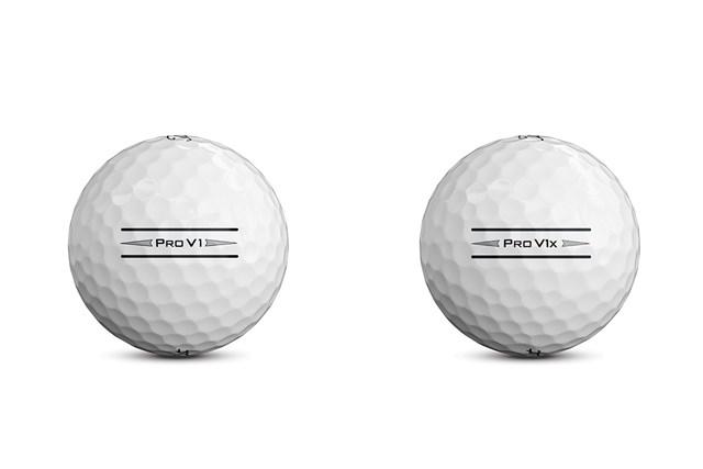 新しいアライメントサイドスタンプを搭載した「プロ V1」と「プロ V1x」