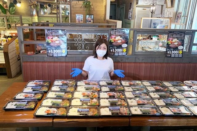 14日に開始された支援プロジェクト。宮里美香が病院にお弁当の差し入れ(※提供写真)