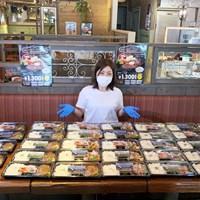 14日に開始された支援プロジェクト。宮里美香が病院にお弁当の差し入れ(※提供写真) 2020年 宮里美香 みかんプロジェクト