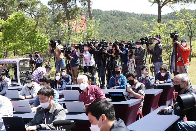 2020年 KLPGA選手権 メディアデー 開幕前日の会見には多数の報道陣が集まった(提供:KLPGA)