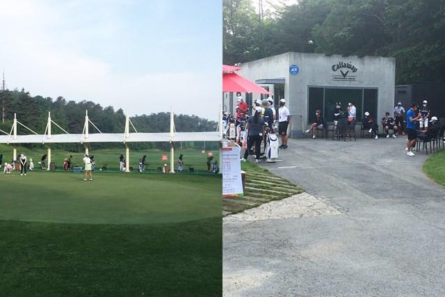 練習場に入れるのは選手だけ(左)。キャディは外で待機する(右)(提供:橋本道七三)