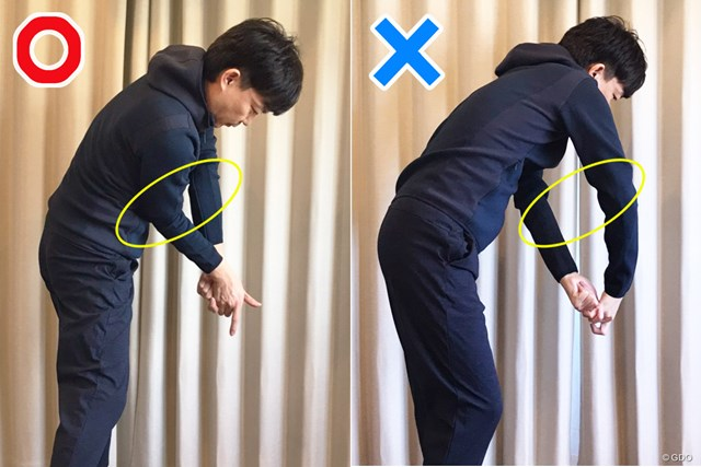 久々ゴルフその前に… スライスを防ぐ家練ドリル【リモートレッスン】 典型的な要因だが、まずは両腕の違いを把握しよう