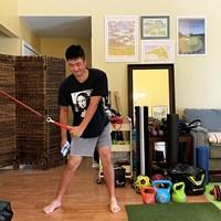 米フロリダ州の滞在先でトレーニング(※提供写真) 2020年 小斉平優和