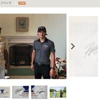 サイン入りフラッグは高額で落札された(画像はヤフーオークションより) 松山英樹 石川遼