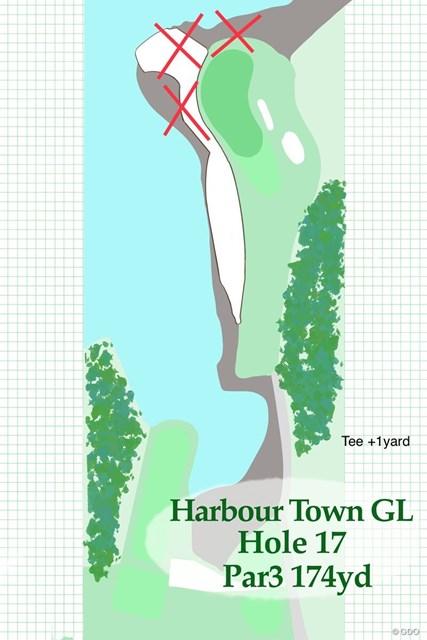 2020年 RBCヘリテージ 事前 ハーバータウンGL17番ホール 全体的にグリーンが小さいのが特徴のコース。17番も幅が狭い