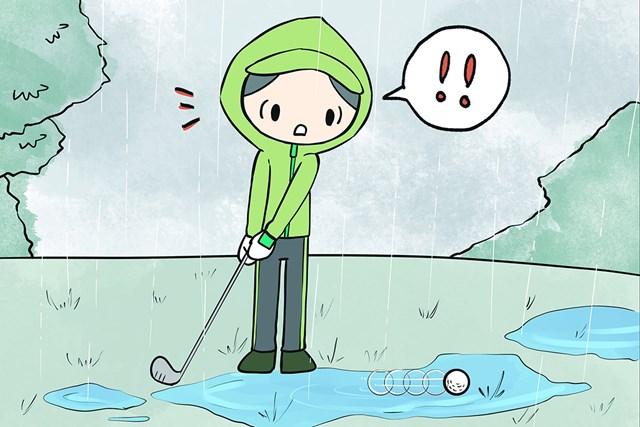 ルールクイズ 水溜まりでボールが動いたら コース上の水たまりに入ったボール。打つ前に動いてしまったら、どうする?