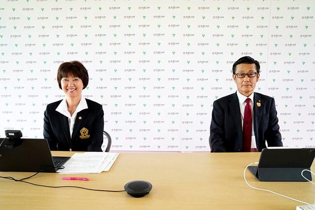 大会開催を前にJLPGAの小林浩美会長とアース製薬の大塚達也会長が会見した(Getty Images/JLPGA提供)