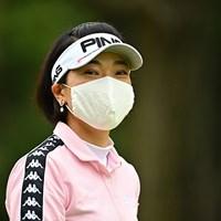 感染対策のためマスクを着用してプレーした(Getty Images/JLPGA提供) 2020年 アース・モンダミンカップ 3日目 大山志保