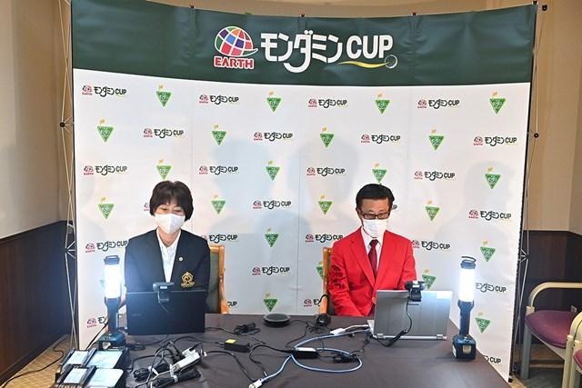 JLPGA小林浩美会長とアース製薬の大塚達也会長が会見を行った(Getty Images/JLPGA提供)