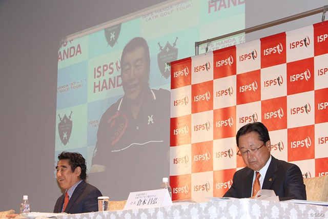 リモートで会見に出席した尾崎将司。自らの名前を冠したチャリティトーナメントが9月に開催される