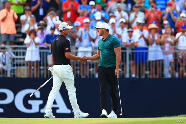 2018年 全米プロゴルフ選手権 最終日 アダム・スコット ブルックス・ケプカ メジャーで復帰のアダム・スコット。2018年「全米プロ」はブルックス・ケプカとの最終組対決に敗れた
