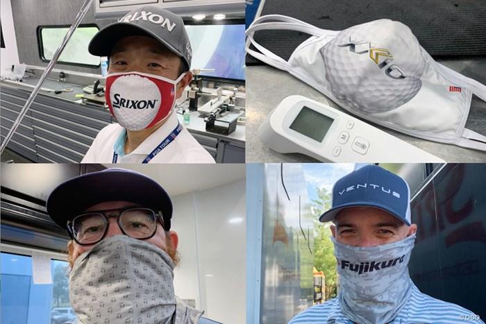 左上が宮野さん。ゼクシオモデル(右上)、テーラーメイド、藤倉ゴム工業のオリジナルマスクも(提供画像) 2020年 WGCフェデックス セントジュード招待 初日 ツアーレップたちのマスク