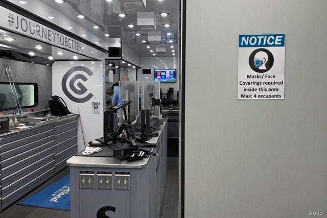 2020年 WGCフェデックス セントジュード招待 初日 ツアーバン ダンロップ・クリーブランドのツアーバンの内部。以前は選手もクラブ調整のため気軽に出入りしていたが、スタッフの数も制限されている(提供画像)