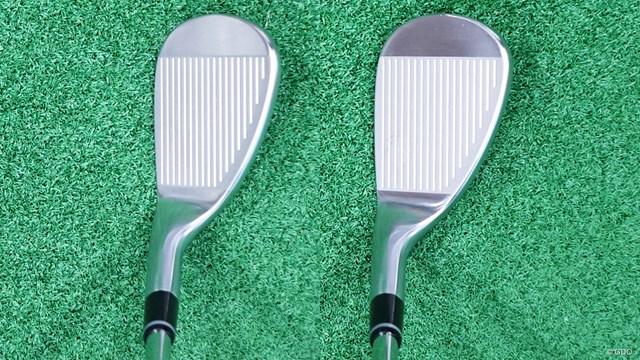 プロギア 0 ウェッジを西川みさとが試打「意表を突く形状&スピン性能」 左が52度、右が56度。ネックの太さの違いに着目