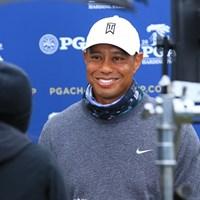 笑顔で会見に応じるウッズ 2020年 全米プロゴルフ選手権 事前 タイガー・ウッズ