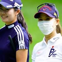 同門の二人(代表撮影:鈴木祥) 2020年 NEC軽井沢72ゴルフトーナメント 事前 上田桃子、松森彩夏