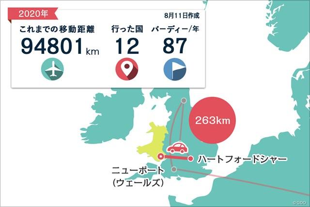 2020年 ケルティッククラシック 事前 川村昌弘マップ レンタカーでの旅が続きます。イングランドからウェールズへ