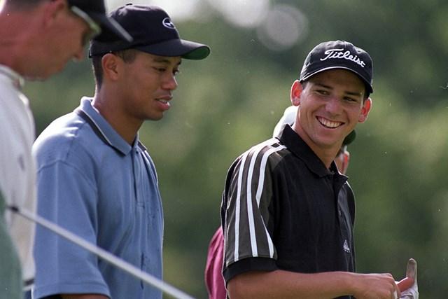 1999年 全米プロゴルフ選手権 最終日 セルヒオ・ガルシア タイガー・ウッズ 神の子ガルシア。大会期間中にウッズとともにラウンドしていた(Getty Images)