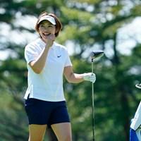 大笑いしてました(代表撮影:鈴木祥) 2020年 NEC軽井沢72ゴルフトーナメント 2日目 葭葉ルミ