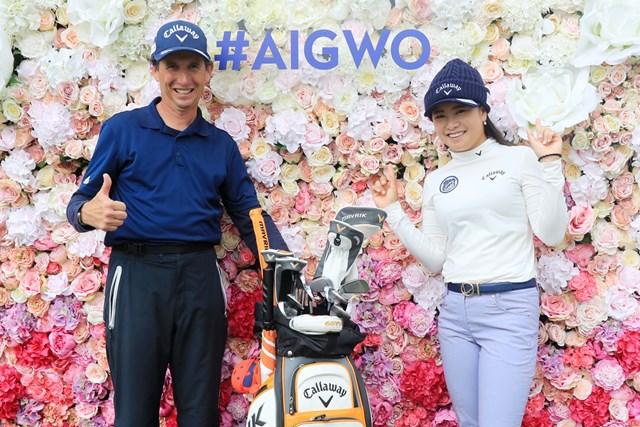 2020年 AIG女子オープン  事前 河本結 キャディのコリン・キャン氏と全英女子に乗り込んだ河本結(David Cannon/R&A/Getty Images)
