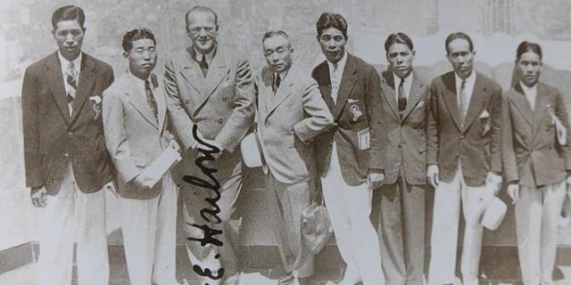 2020年 残したいゴルフ記録 日本チーム 日米対抗戦の日本チーム。左から2人目が中村兼吉、右から2人目が宮本留吉(武藤一彦氏提供)
