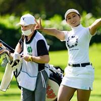 元気にピース(代表撮影/上山敬太) 2020年 ニトリレディスゴルフトーナメント 初日 竹内美雪