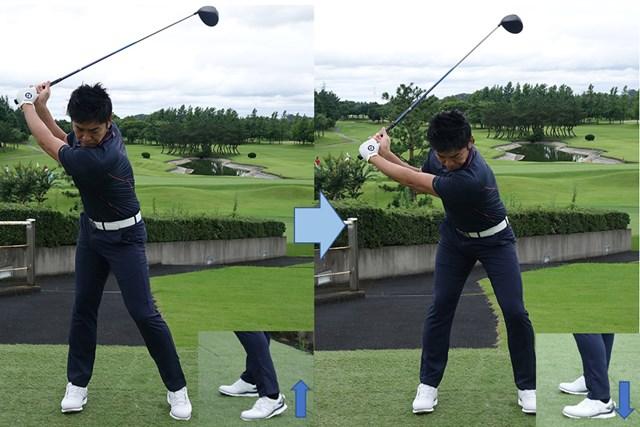 トップでかかとを上げ(左)てから、強く踏み込む(右)ことで地面反力を得てヘッドスピードを上げる