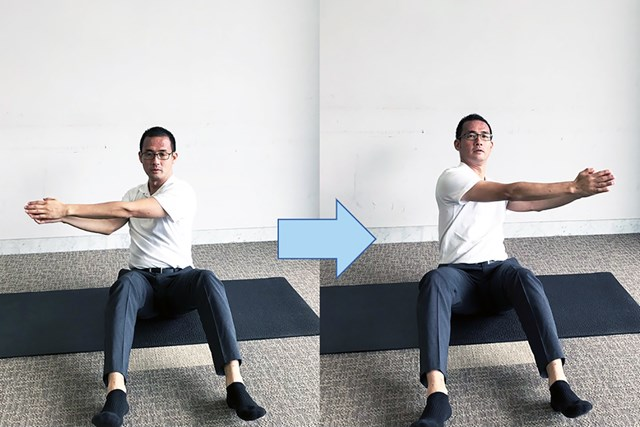 床に座った状態で、左右に10回ひねる 慣れてきたら全力でやってみるとパワーもついてくる