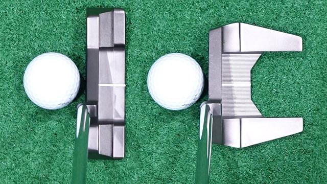 トラス パターを筒康博が試打「センターシャフト感強め」 左がTB2 右がTM2。どちらもトラスセンターモデル