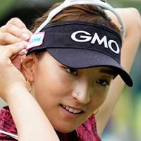 耳の後ろがポイントかな(代表撮影・岡沢裕行) 2020年 ゴルフ5レディス プロゴルフトーナメント 初日 脇元華