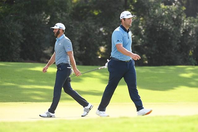 2020年 ツアー選手権 初日 ダスティン・ジョンソンとジョン・ラーム 初日から攻防を繰り広げたジョンソンとラーム(Ben Jared/PGA TOUR via Getty Images)