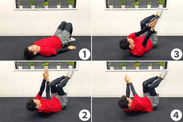 バテない体を作る筋力トレーニング ツイスト・クランチ(提供:ケアくる)