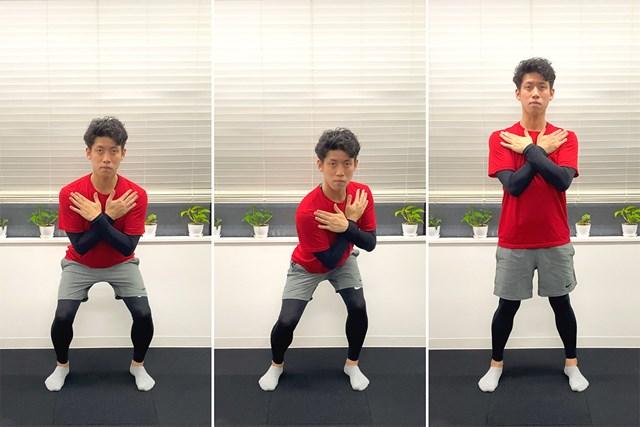 バテない体を作る筋力トレーニング ローテーション・スクワット(提供:ケアくる)