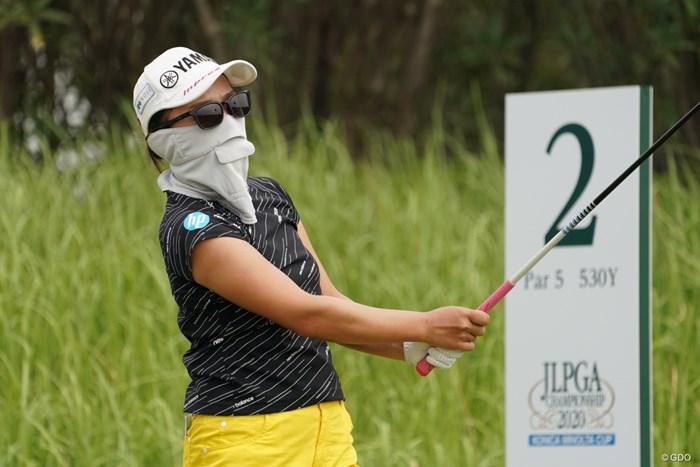 完全防備、でもファンなら誰かわかるはず 2020年 日本女子プロゴルフ選手権大会コニカミノルタ杯 事前 有村智恵
