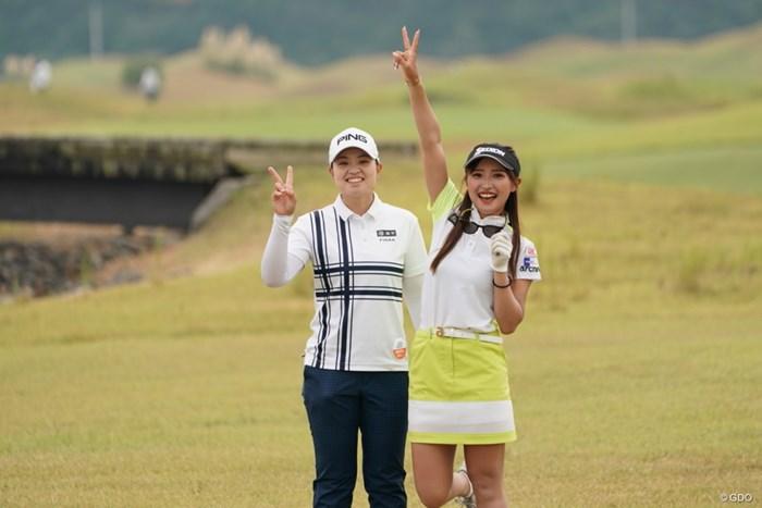 元気だよ~ 2020年 日本女子プロゴルフ選手権大会コニカミノルタ杯 事前 臼井麗香と小倉ひまわり