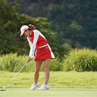 18番ティショット、ボールはフェアウェイに 2020年 日本女子プロゴルフ選手権大会コニカミノルタ杯 最終日 高橋彩華
