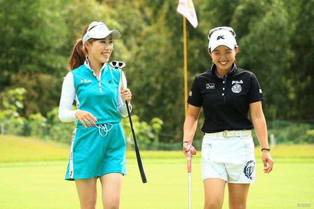 木村彩子と坂口悠菜 日本女子プロゴルフ選手権では選手とキャディ。高松での練習ではともにプレーヤーとしてラウンド