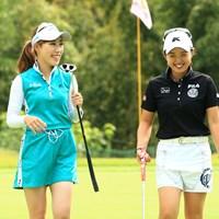 日本女子プロゴルフ選手権では選手とキャディ。高松での練習ではともにプレーヤーとしてラウンド 木村彩子と坂口悠菜