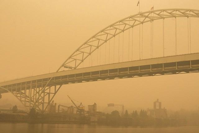 2020年 キャンビア ポートランドクラシック 事前 ポートランド ポートランド市街は依然として灰や煙に覆われている※撮影は12日(Nathan Howard/Getty Images)