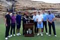 ウッズとトーマス、マキロイとローズが組んだチャリティマッチ。表彰式にはジャック・ニクラス、ゲーリー・プレーヤーらの姿も(Tom Pennington/Getty Images for Payne's Valley Cup)
