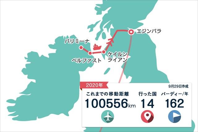 2020年 ASIスコットランドオープン 事前 川村昌弘マップ 北アイルランドからスコットランドへ。フェリーで海を渡りました
