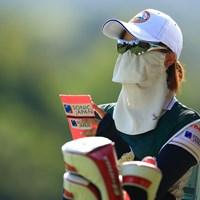 来週はこのマスクに決めた!!ネットで購入したらしい 2020年 日本女子オープンゴルフ選手権 初日 マスク
