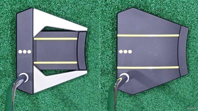 スコッティキャメロン PHANTOM X パターを筒康博が試打「ちゃんとキャメロン感あり」 左が「6」右が「8」。外枠の形状は同じだが、見え方はかなり異なる印象