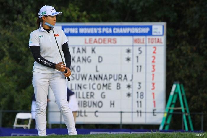 リーダーボードに名前が載っていた12番でまさかの4パット。そこから巻き返した 2020年 KPMG全米女子プロゴルフ選手権 初日 渋野日向子
