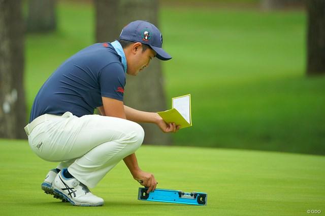 2020年 日本オープンゴルフ選手権競技 事前 金谷拓実 グリーン上に家を建てようとしている訳ではありません。