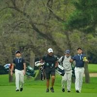 プロになっても練習ラウンドは、アマチュア仲間達と一緒に。 2020年 日本オープンゴルフ選手権競技 事前 金谷拓実 米澤連 中島啓太