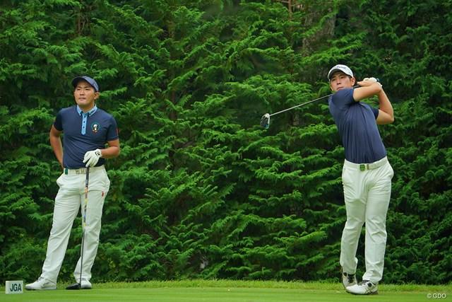 2020年 日本オープンゴルフ選手権競技 事前 金谷拓実 中島啓太 ともに行動をしてきた金谷拓実と中島啓太(右)