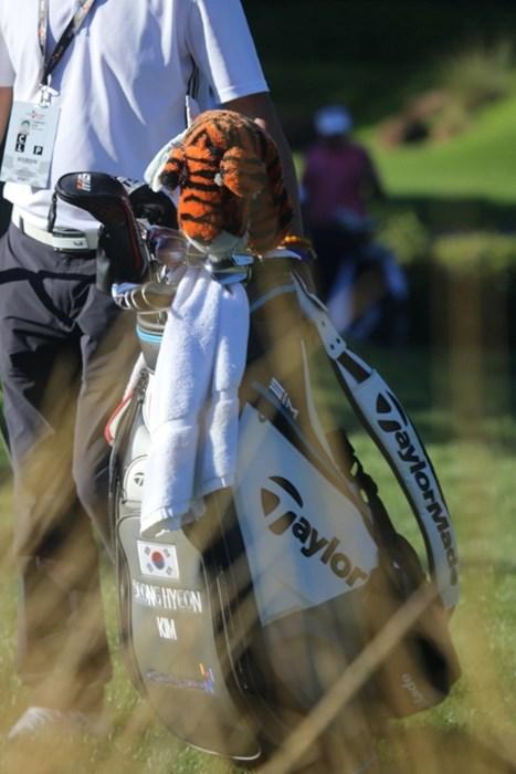 韓国人選手がウッズと同じヘッドカバーを使用していた(協力/GolfWRX、PGATOUR.COM) 2021年 ザ・CJカップ@シャドークリーク 最終日 キャディバッグ