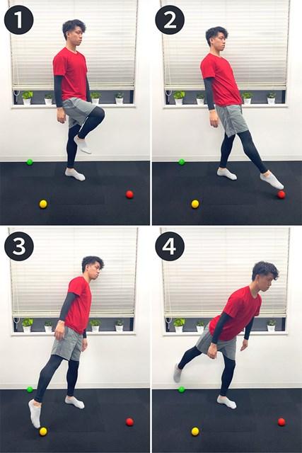 老化防止トレーニング 3方向片脚立ちバランス(提供:ケアくる)