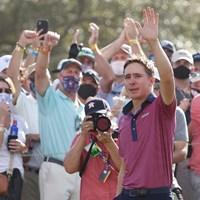 メキシコ勢として42年ぶりの米ツアー優勝を遂げたオルティス。目には光るものが(Maddies Meyer/Getty Images) 2021年 ビビント ヒューストンオープン 4日目 カルロス・オルティス